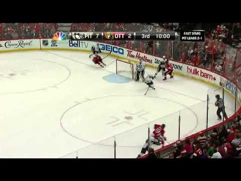 Jarome Iginla snapshot goal 7-2 May 22 2013 Pittsburgh Penguins vs Ottawa Senators NHL Hockey