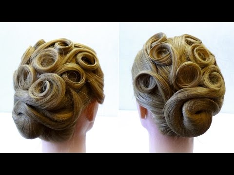 Вечерняя прическа на средние волосы. Праздничная прическа. Holiday hairstyle for medium hair