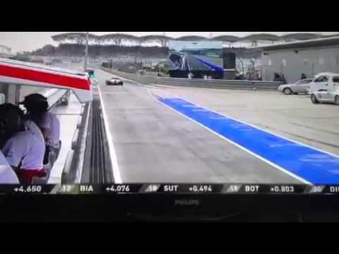 Lewis Hamilton  FUCK UP ( wrong pit box)  Malaysian gp 2013