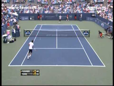 Federer beat Tomic Cincinnati Masters 2012