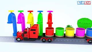 Colors For Children To Learn With Street Vehicles Toys #v |Colours Animals Water Truck For Kids