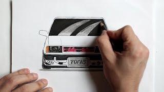 Harika Bir ARABA ÇİZİMİ (Ehedov Elnur)Tofas araba nasil cizilir_Cok Kolay_нарисовать машину