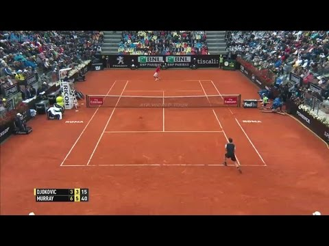 Amazing Andy Murray shot on championship point in Rome v Djokovic - 2016 Internazionali BNL d'Italia