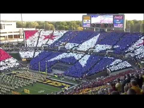 www.bigtennetwork.com Card stunt before the Iowa game against Northwestern during the National Anthem.