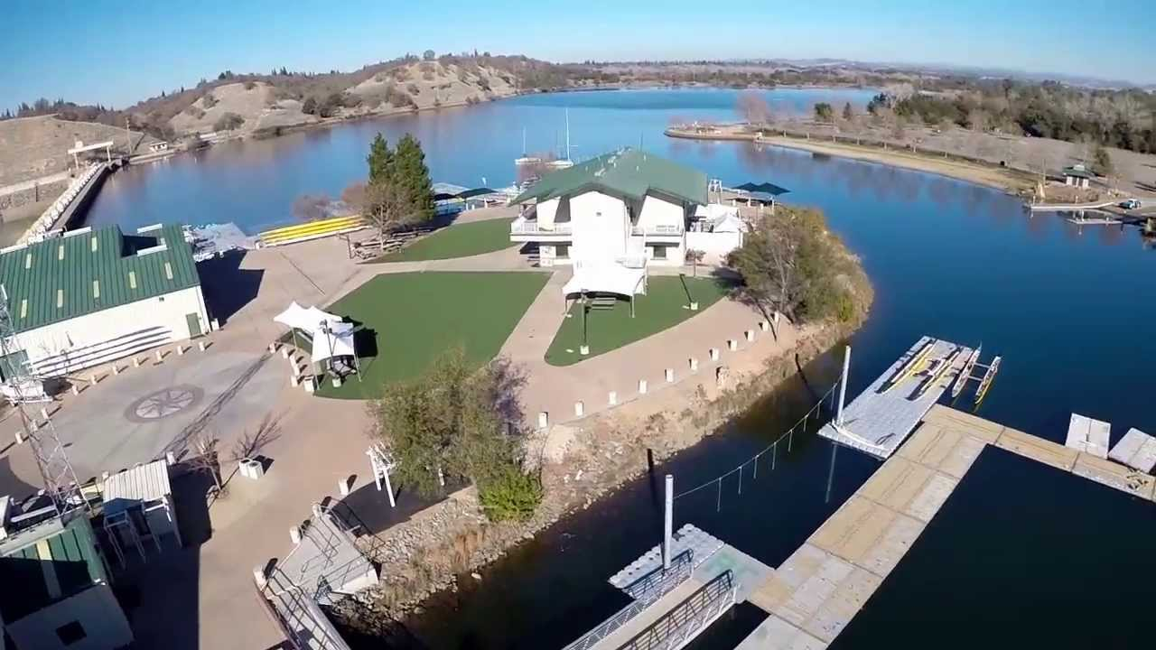 Csus aquatic center nimbus dam on lake natoma aerial for Lake natoma fishing