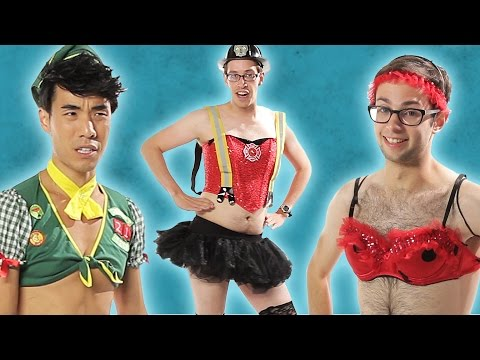 Men Try On Ladies' Sexy Halloween Costumes