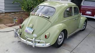 60 VW Bug ragtop freeway test drive with Caster shims