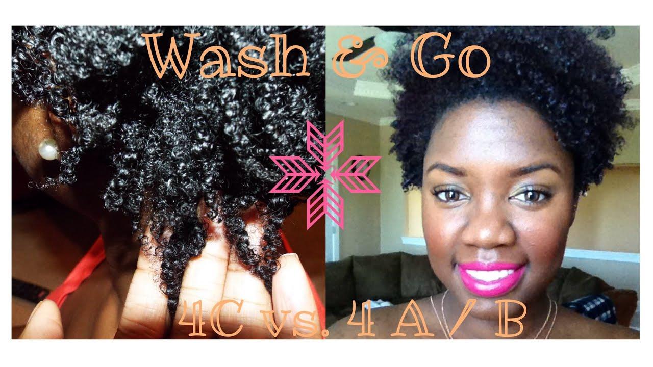 Natural Hair Wash n Go 4C hair vs. 4 A / B - YouTube