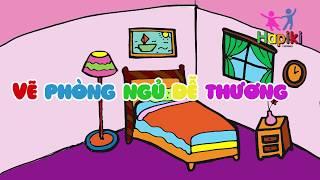 Vẽ phòng ngủ dễ thương cho bé - Dạy bé học màu sắc