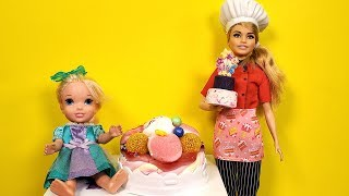 CAKE baking ! Elsa and Anna - Barbie - cake shop