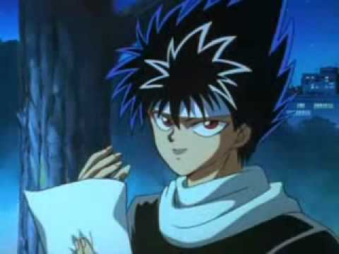 YYH - Demon Whistle and Hiei falling from tree