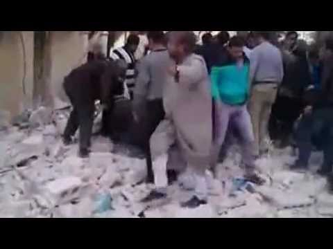 Aftermath of airstrike in Aleppo, Syria, today while internet was cut. NSFL_NSFW