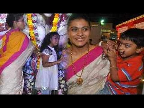 Kajol celebrates Durga Puja with kids Nysa & Yug