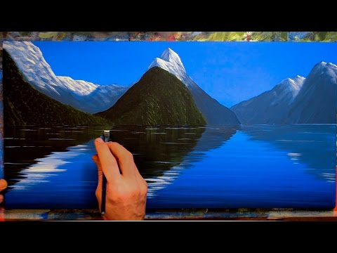 Painting Mountains with Water Reflections - In Acrylics