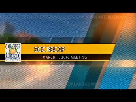 BCC RECAP - March 1, 2016