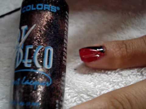 Nail Art - rojo-negro uñas cortas