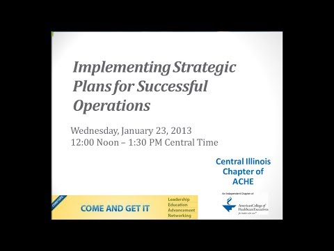 Implementing Strategic Plans for Successful Operations (VIDEO)
