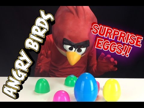 LOTS of Pig's Play-Doh Surprise Eggs Opened up by Angry Birds Red!!!