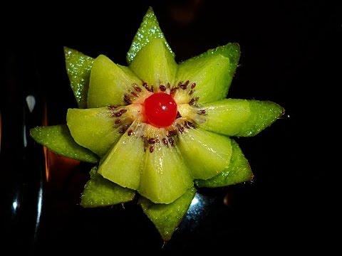 Цветок из киви! Украшения из фруктов! Carving kiwi! Decoration of fruits