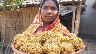 Murir Moa Cooking by Rural Women   Puffed Rice Balls with Jaggery Recipe Indian Village Food
