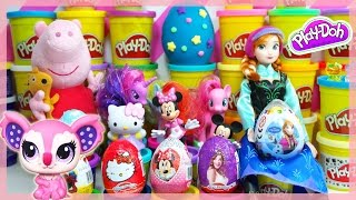 Violetta 3 Kinder Peppa pig Surprise Eggs Play Doh LPS Spiderman Frozen