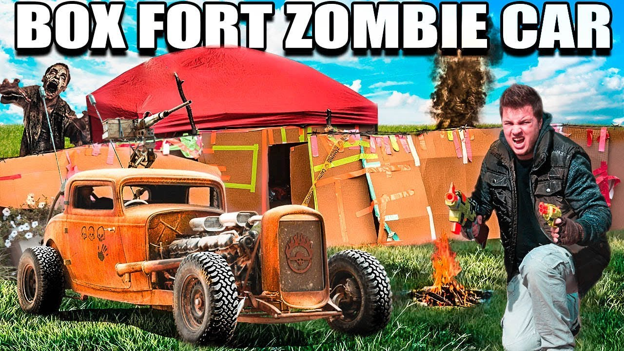 BOX FORT ZOMBIE CAR SURVIVAL CHALLENGE!!