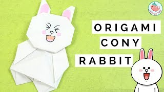 Origami LINE Sticker - Origami Cony the Bunny Rabbit - Paper Crafts for Kids Origami Tutorial