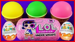 Playdoh Ice Cream Learn Colors with LOL Dolls Kinder Surprise Egg Super Wings Toy