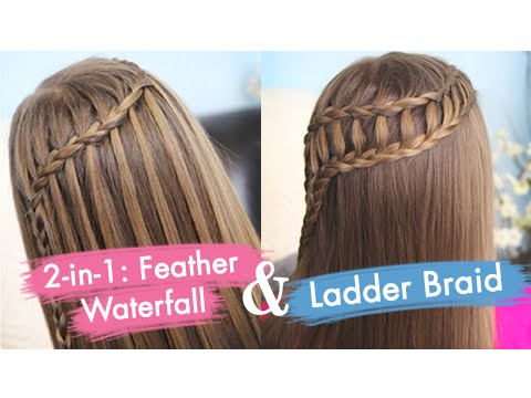 Feather Waterfall & Ladder Braid Combo | Cute 2-in-1 Hairstyles video