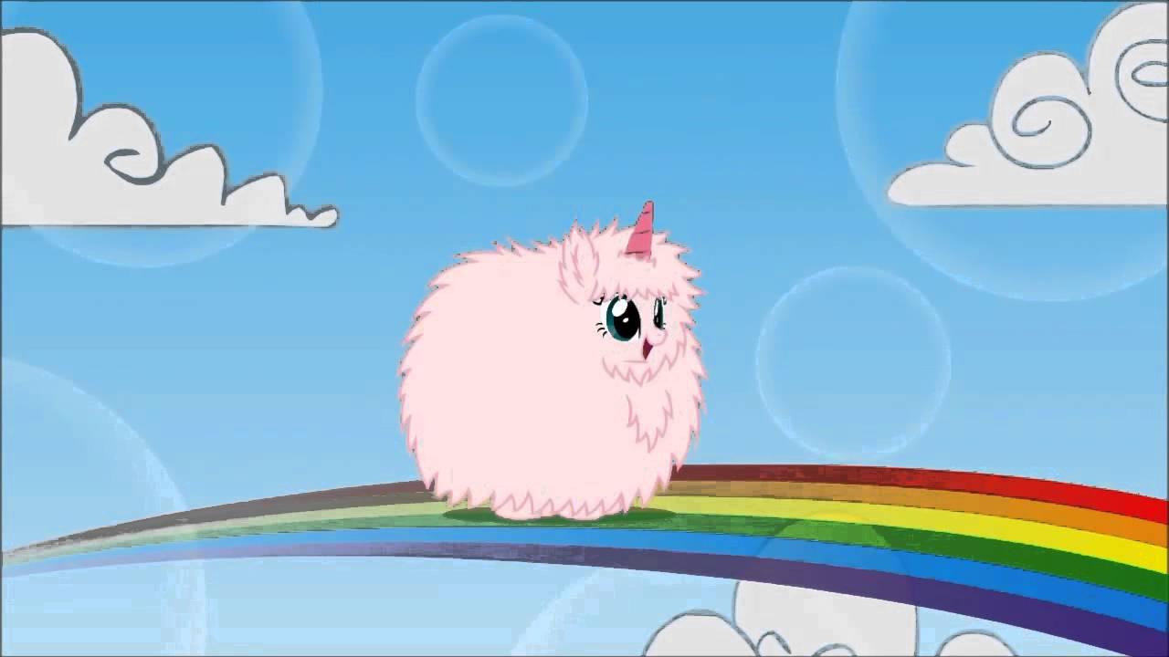 Pink Fluffy Unicorns Dancing On Rainbows Fluffle Puff 1