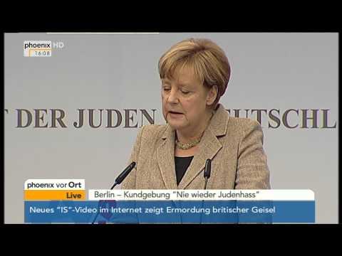 Kundgebung gegen Judenhass: Rede von Kanzlerin Angela Merkel am 14.09.2014