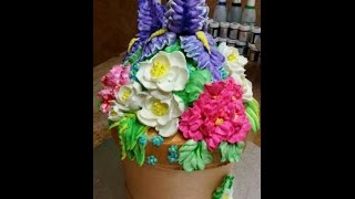 How To Make a Flower Pot Cake- Buttercream- Cake Decorating