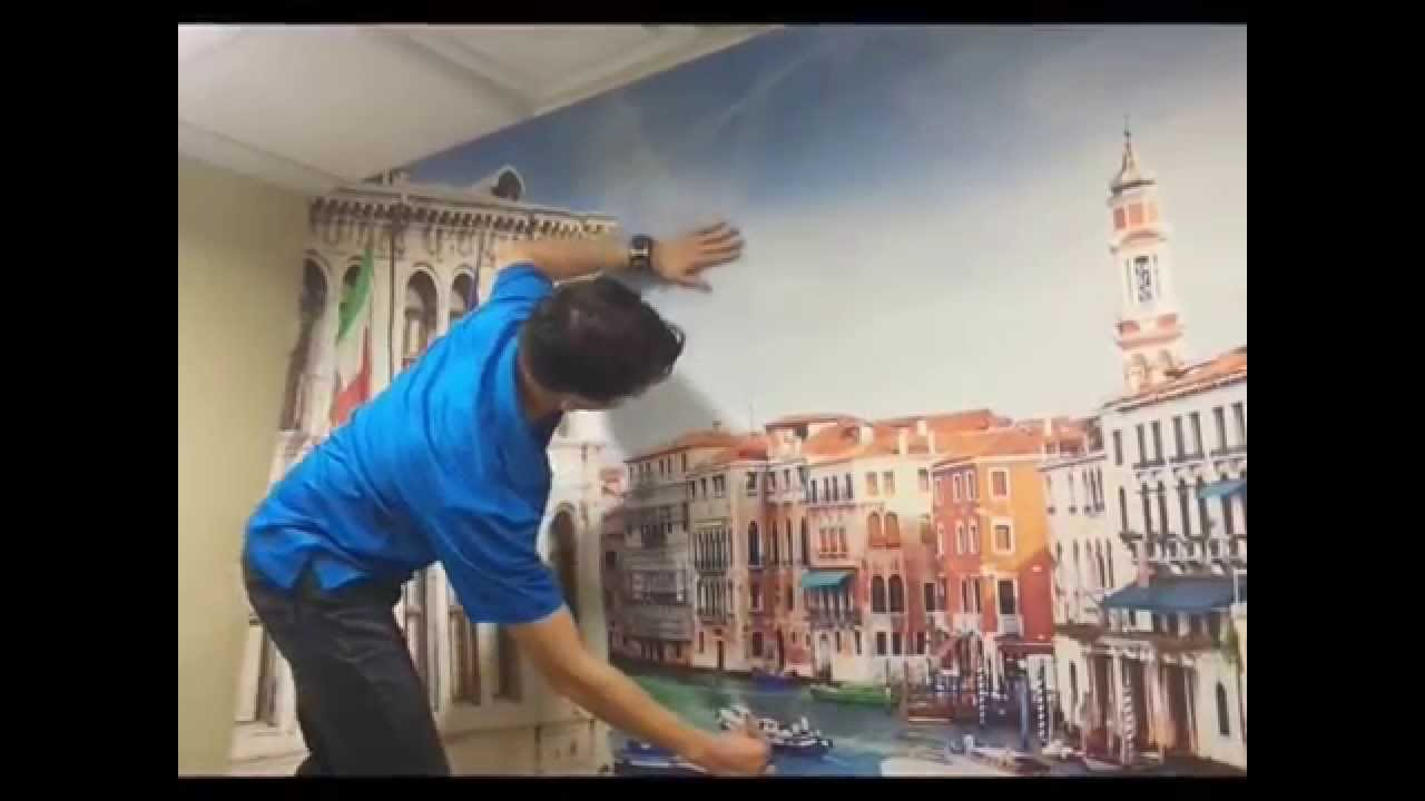 how to install a peel and stick wall mural youtube. Black Bedroom Furniture Sets. Home Design Ideas