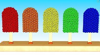 Ice Pop Filled Colored Soccer Balls | Soccer Balls Shapes Ice Cream For Kids | Colors4Kids
