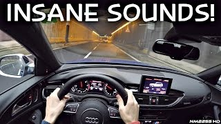Audi RS6 Performance INSANE Sounds in the Tunnels - LOUD Backfires & Accelerations!
