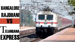 INDIAN RAILWAYS premier trains Bangalore RAJDHANI Express vs Telangana express !!