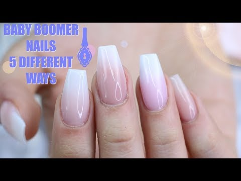 5 WAYS TO DO BABY BOOMER NAILS | FRENCH FADE