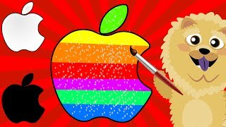 AMAZING RAINBOW APPLE LOGO! (Glitter Coloring and Drawing)