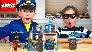 Lego City Mountain Police HQ Unboxing + Costume Pretend Play Skits
