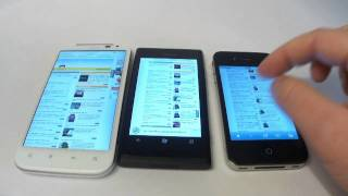 Nokia Lumia 800 HTC Sensation XL iPhone 4 COMPARISON OF INTERNET BROWSERS
