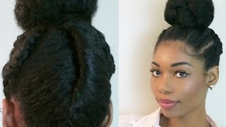 NATURAL PROTECTIVE HAIRSTYLE : DUTCH BRAIDS INTO A TWISTED BUN