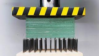 EXPERIMENT Glass vs Nail Bed (HYDRAULIC PRESS 100 TON)