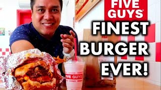 FIVE GUYS BURGERS and FRIES | FOOD REVIEW | Mukbang | Cheat Day #16