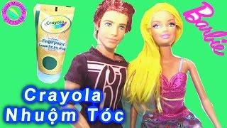 "Bộ Đồ Chơi ""Crayola Finger Paint"" Nhuộm Tóc Ken, Barbie, Peeta, Terasa & Elsa Hair Color Change"