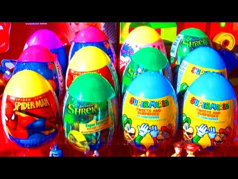 12 Surprise Eggs Super Mario Bros Spider-Man SHREK Littlest Pet Shop LPS Easter Egg Toy Surprises