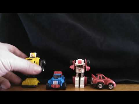 G1 swerve. gears. bumblebee and cliffjumper mini bots transormation review