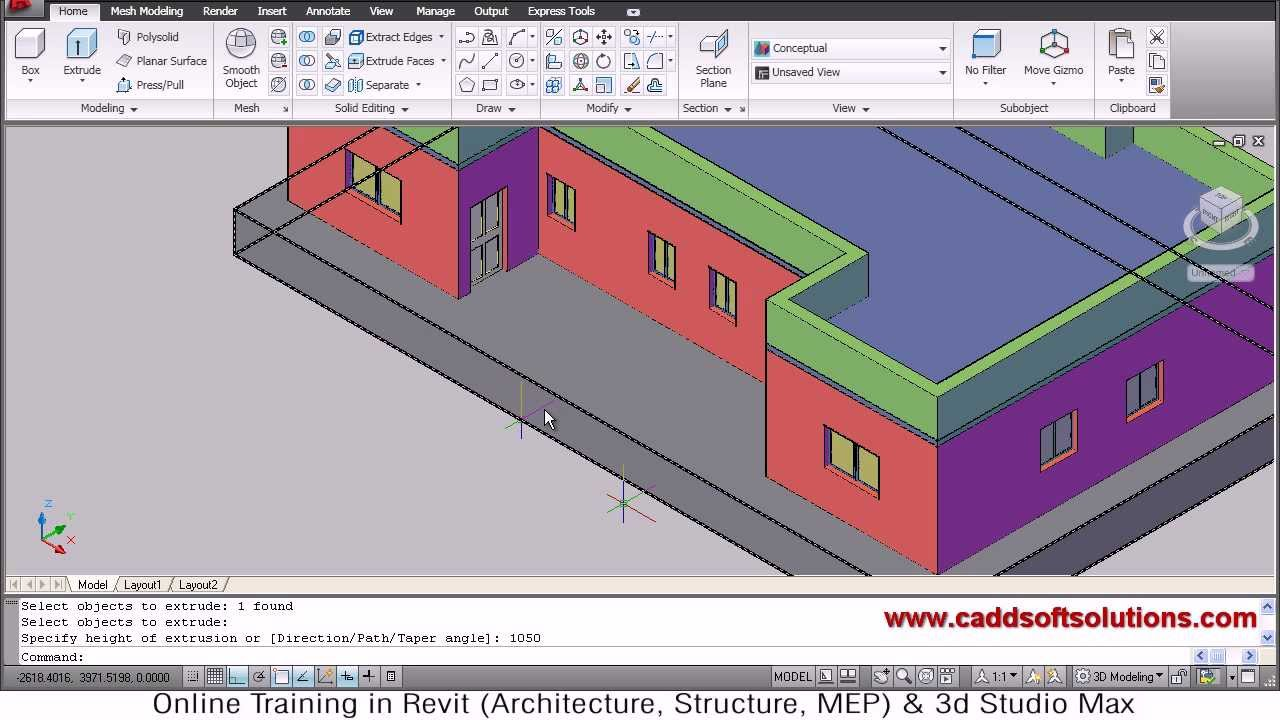 Autocad 3d house modeling tutorial 6 3d home 3d for In plan 3d