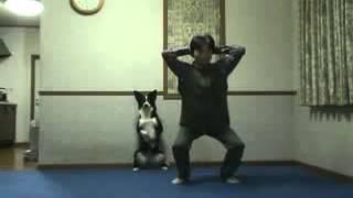 Hund und Herrchen machen Sport! lustig