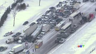 Whiteout winter storm near Toronto - Aerial view of 96 vehicle pile up in Canada