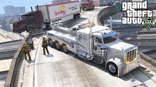 GTA 5 Real Life Mod #136 Peterbilt Tow Truck Wrecker Towing A Burnt Semi Truck That Caught On Fire